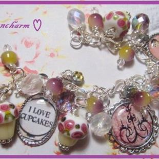 Art: I Love Cupcakes Altered Art Charm Bracelet ooak by Artist Lisa  Wiktorek