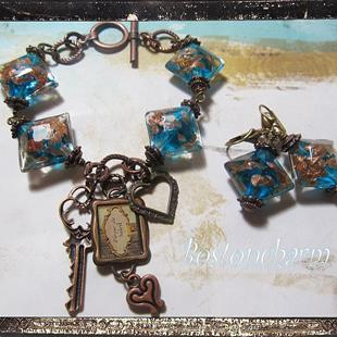 Art: Midnight Copper and Brass Altered art Charm bracelet and earrings by Artist Lisa  Wiktorek