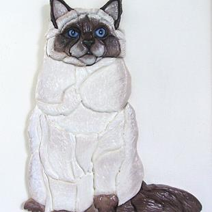 Art: Siamese/Ragdoll Cat original Intarsia Art by Artist Gina Stern