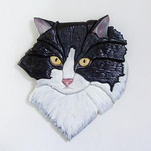 Art: Black and White Cat Original Painted Intarsia Art by Artist Gina Stern