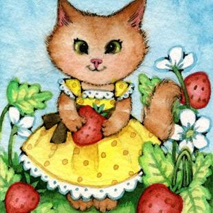 Art: Strawberry Patch ACEO by Artist Carmen Medlin