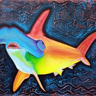 Art: Sea of Portugal Collection Hammerhead Shark by Artist Laura Barbosa