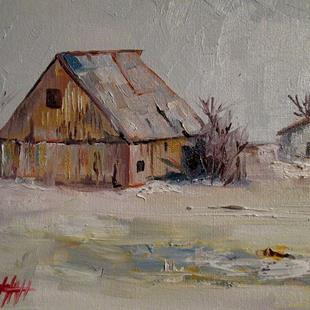 Art: Winter Barn by Artist Delilah Smith