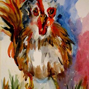 Art: Rooster  No. 3 by Artist Delilah Smith