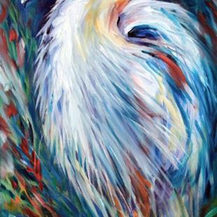 Art: ABSTRACT BLUE HERON by Artist Marcia Baldwin