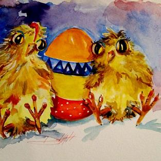 Art: Easter Chicks by Artist Delilah Smith