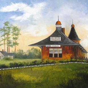Art: Kansas City Southern Railroad Depot Station by Artist Barbara Haviland