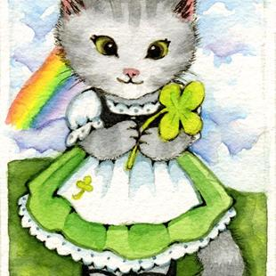 Art: Lucky Kitten ACEO by Artist Carmen Medlin