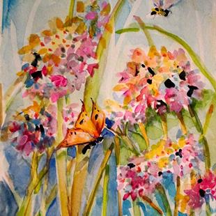 Art: Flower with Butterfly and Bee by Artist Delilah Smith