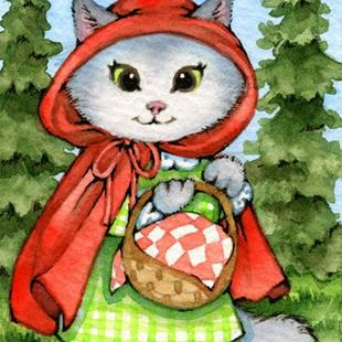 Art: Little Red Riding Kitty ACEO by Artist Carmen Medlin