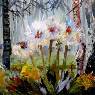Art: Dandelions in the Woods-SOLD by Artist Delilah Smith
