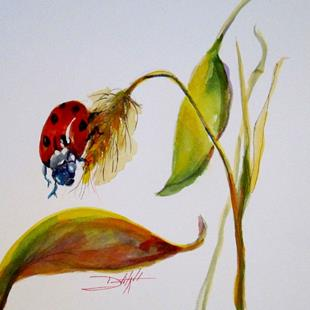 Art: Lady Bug on Leaf by Artist Delilah Smith
