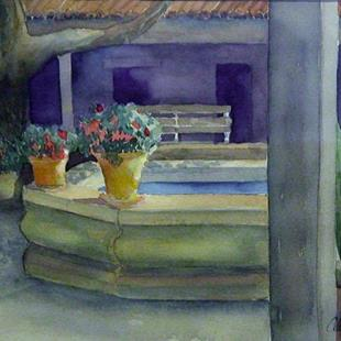 Art: Historic Courtyard by Artist Claudia Cook