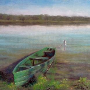 Art: Green Boat by Artist Kimberly Vanlandingham