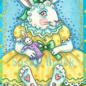 Art: BUNNY IN POLK A DOTS by Artist Susan Brack