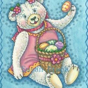 Art: EASTER EGG TEDDY by Artist Susan Brack