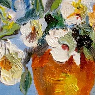 Art: White Flowers in Yellow Pot Aceo-SOLD by Artist Delilah Smith