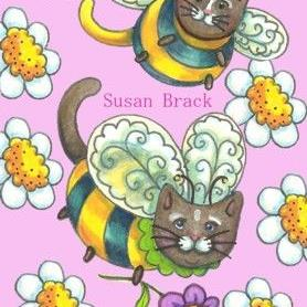 Art: BUMBLECATS - Daisy Pink Background by Artist Susan Brack