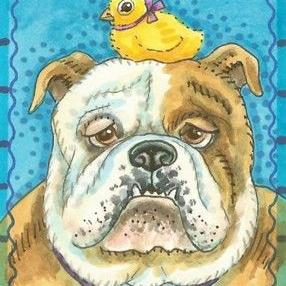 Art: BULLDOG AND CHICK by Artist Susan Brack