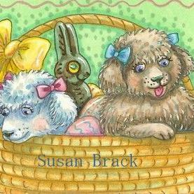 Art: EASTER POODLE PUPS by Artist Susan Brack