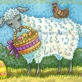 Art: EGG HUNT - Sheep by Artist Susan Brack
