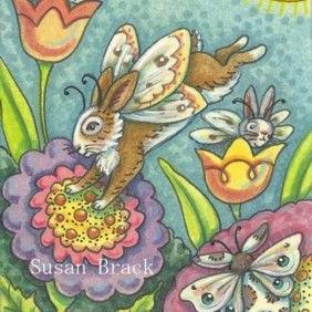 Art: HARE FAIRIES IN A MAGIC GARDEN by Artist Susan Brack