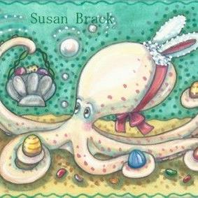 Art: HERE COMES THE EASTER OCTOPUS by Artist Susan Brack