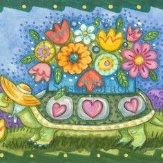 Art: FLOWER BOX TORTOISE by Artist Susan Brack