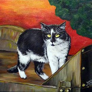 Art: Farm Cat (SOLD) by Artist Monique Morin Matson