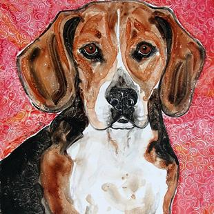 Art: Beagle with Red Wallpaper by Artist Melinda Dalke
