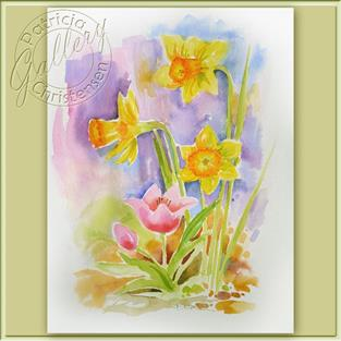 Art: Spring Daffodils & Tulips by Artist Patricia  Lee Christensen