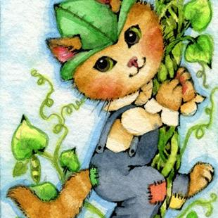 Art: Kitty and the Beanstalk ACEO by Artist Carmen Medlin