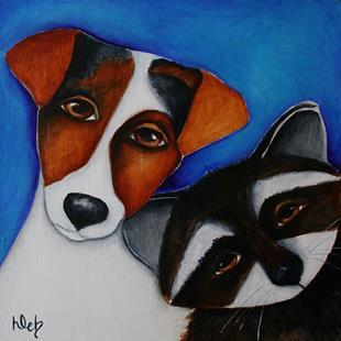 Art: JRT and Raccoon by Artist Deb Harvey