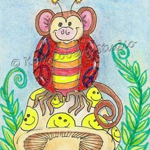 Art: Retro Hippie Lady Bug Monkey - SOLD by Artist Kim Loberg