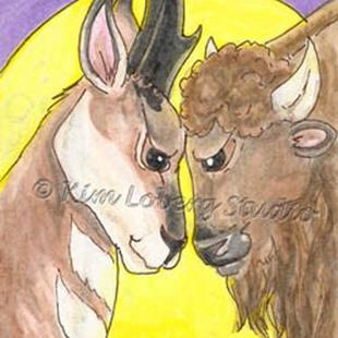 Art: Pronghorn & Buffalo Confrontation Under the Full Moon - SOLD by Artist Kim Loberg