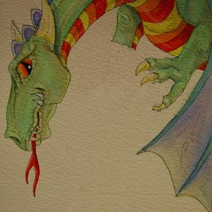 Art: Dragon from Round Robin Art by Artist Kim Loberg