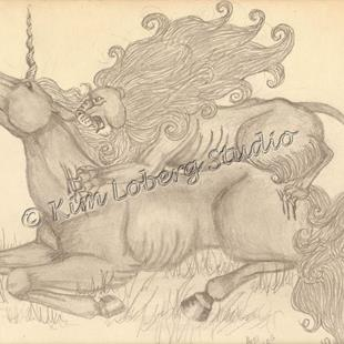Art: Unicorn and Lion by Artist Kim Loberg