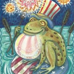 Art: 4TH OF JULY AMERICAN BULLFROG by Artist Susan Brack