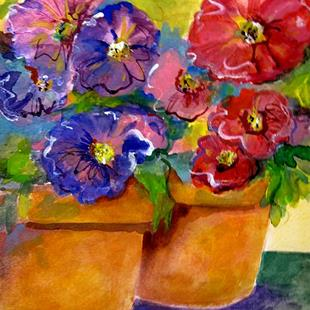 Art: Pot of Petunias by Artist Delilah Smith