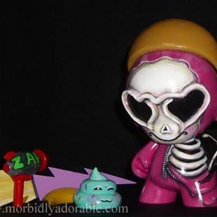 Art: Love Goggles Skelly Munny -Skeleton Doll Art by Artist Misty Monster (Benson)