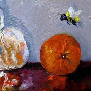 Art: Two Oranges and a Bee by Artist Delilah Smith