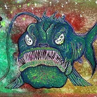 Art: Angry Angler Andy by Artist Laura Barbosa