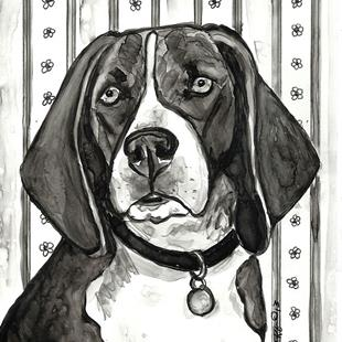 Art: Beagle with Flowered Wallpaper 2 by Artist Melinda Dalke