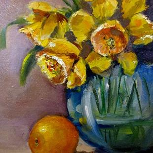 Art: Daffodils and Orange with Bee by Artist Delilah Smith