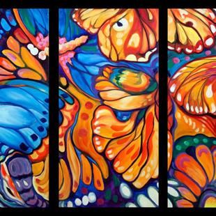 Art: ABSTRACT BUTTERFLIES TRIPTYCH by Artist Marcia Baldwin