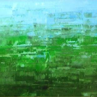 Art: Light Green Abstraction - 133 (a) by Artist Luba Lubin