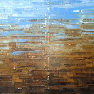 Art: Blue Brown Abstraction - 137 (a) by Artist Luba Lubin