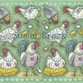 Art: HENS RULE THE ROOST Repeat Border by Artist Susan Brack