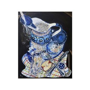 Art: Sink Bubbles: Polish Pottery LXIV by Artist Heather Sims