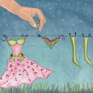 Art: Discovery, Fairy Laundry Day by Artist Sherry Key